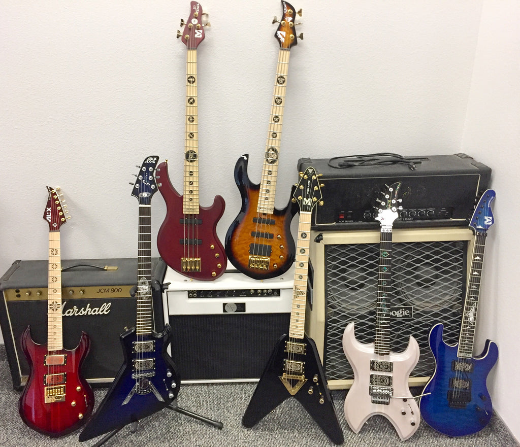 Mathas Guitars - Original Lineup of Guitars and Basses - StoneCutter Guitar - Galileo Guitar - Les Gavel Bass - Rottwailer Bass - Vigilante Guitar - LandShark Guitar - Gibraltar Guitar