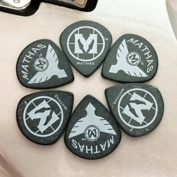 Mathas Guitars - Guitar Picks 1.5mm Jumbo Jazz - Black - Double-Sided Logo - Delrin