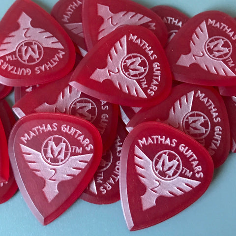 Mathas Guitars - Guitar Picks - Elite Series - Impaler - 2.0mm - Beveled Guitar Picks - Keep Your Pick Hand Strong - Red - Flight - Live Sharp Shred Hard