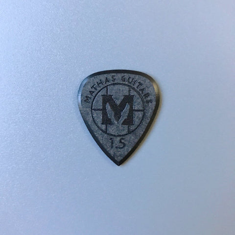 Mathas Guitars - Premium Series - Impaler - 1.5 mm - Beveled Guitar Picks - Keep Your Pick Hand Strong - Black - Classic Emblem