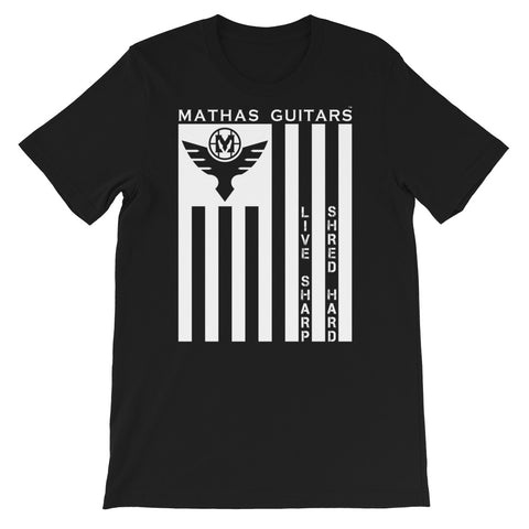 "Mathas Guitars - ""Flight - Flag - Live Sharp"" Logo  T-Shirt"