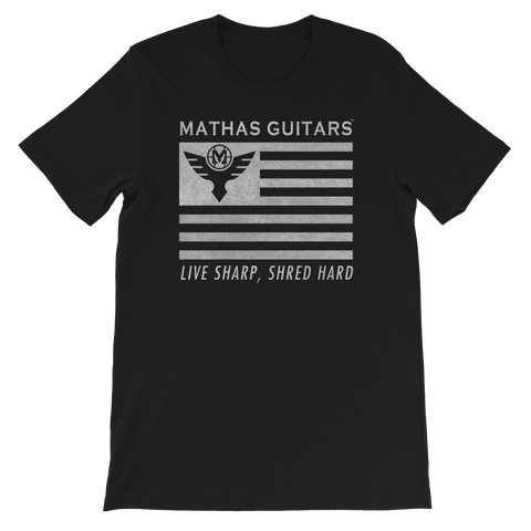 Mathas Guitars - Tee - T-Shirt - TShirt - Shirt - Streetwear - Live Sharp Shred Hard - Sküllanon - Skullduggery - Flight To Fight - StoneCutter