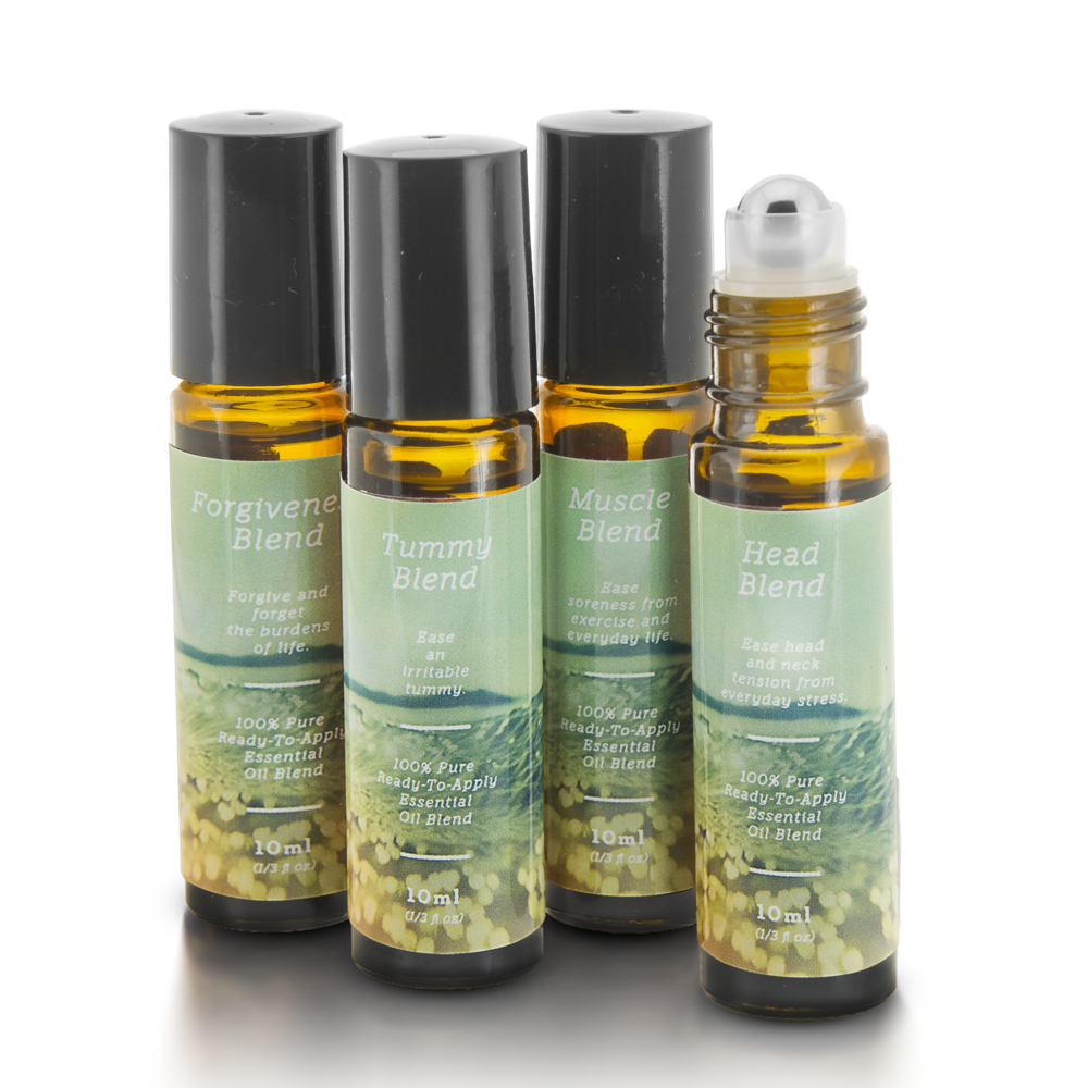 Pain Essential Oil Blends Roll-On Kit - Head, Tummy, Muscle & Head Blends