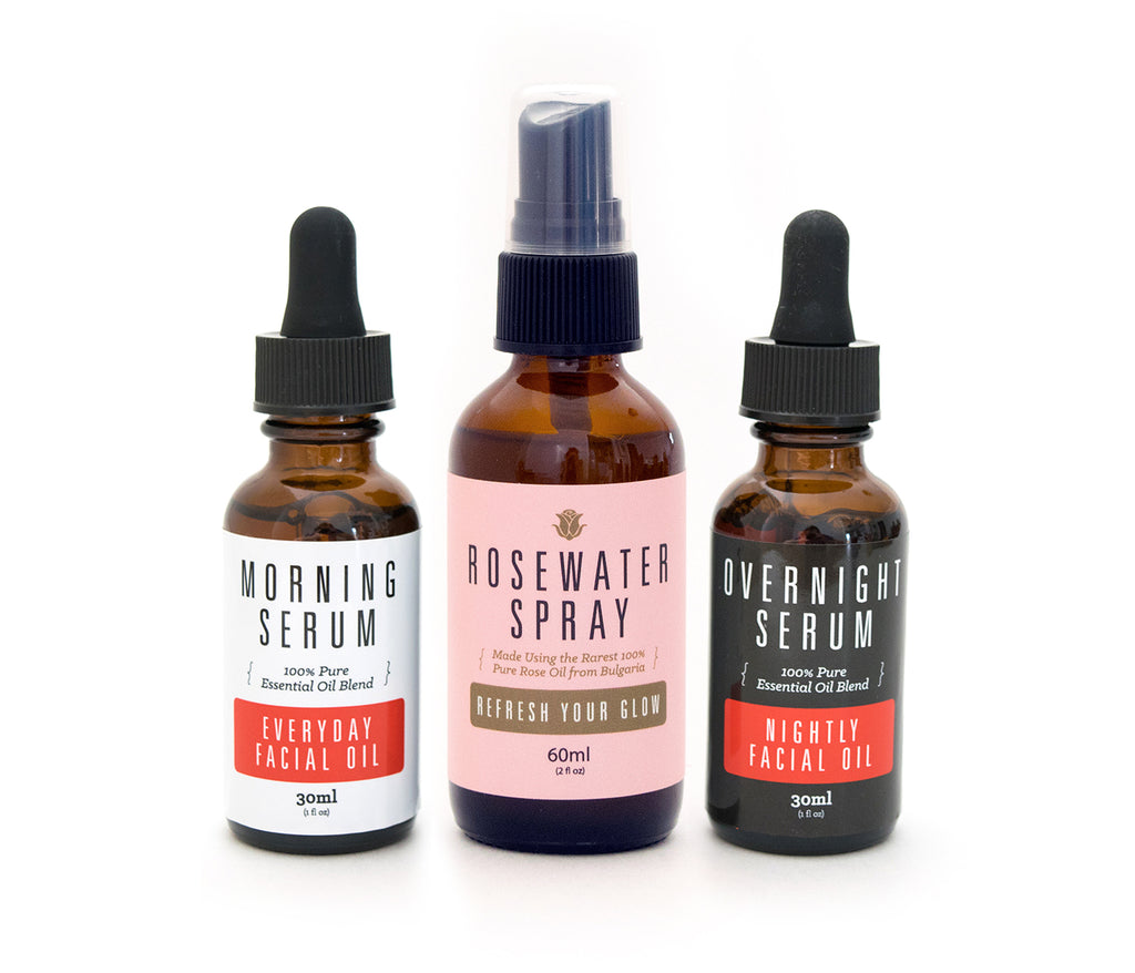Complete Complexion Kit | Overnight & Morning Serums Plus Rosewater Spray