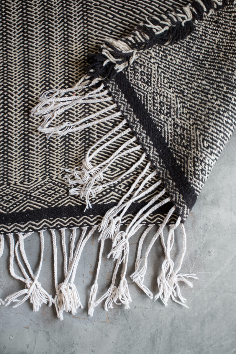 Picture of: Black And White Patchwork Zanafi Flat Weave Wool Rug Ouive