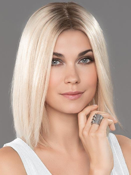 SECRET by ELLEN WILLE in CHAMPAGNE ROOTED | Light Beige Blonde, Medium Honey Blonde, and Platinum Blonde blend with Dark Roots