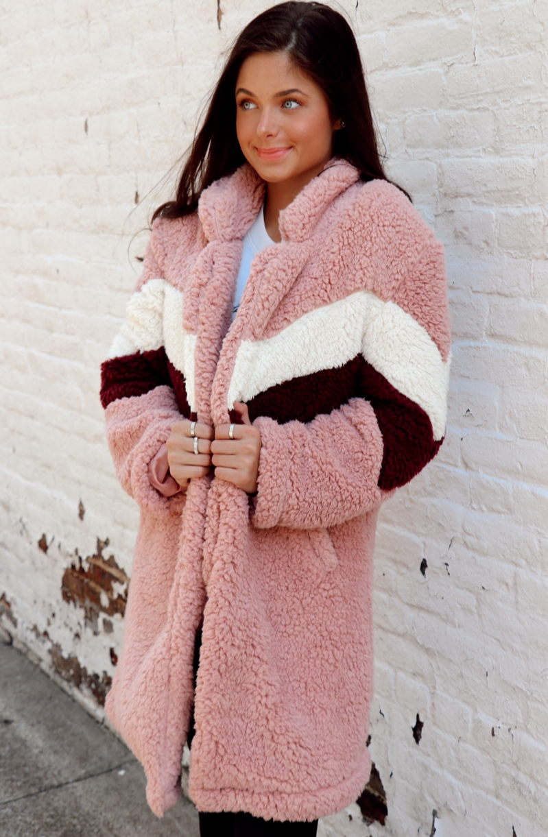 Striped Sherpa in Pink