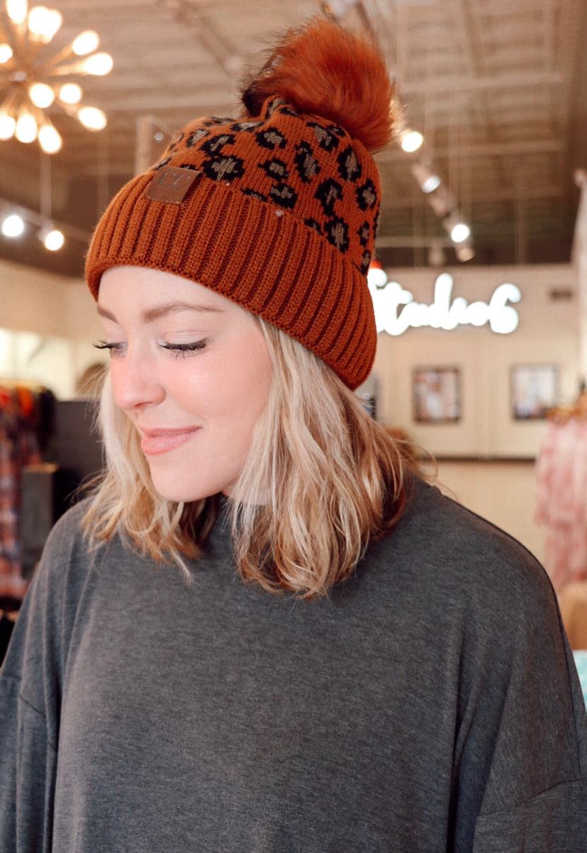 The Cheetah C.C. Beanie in Rust