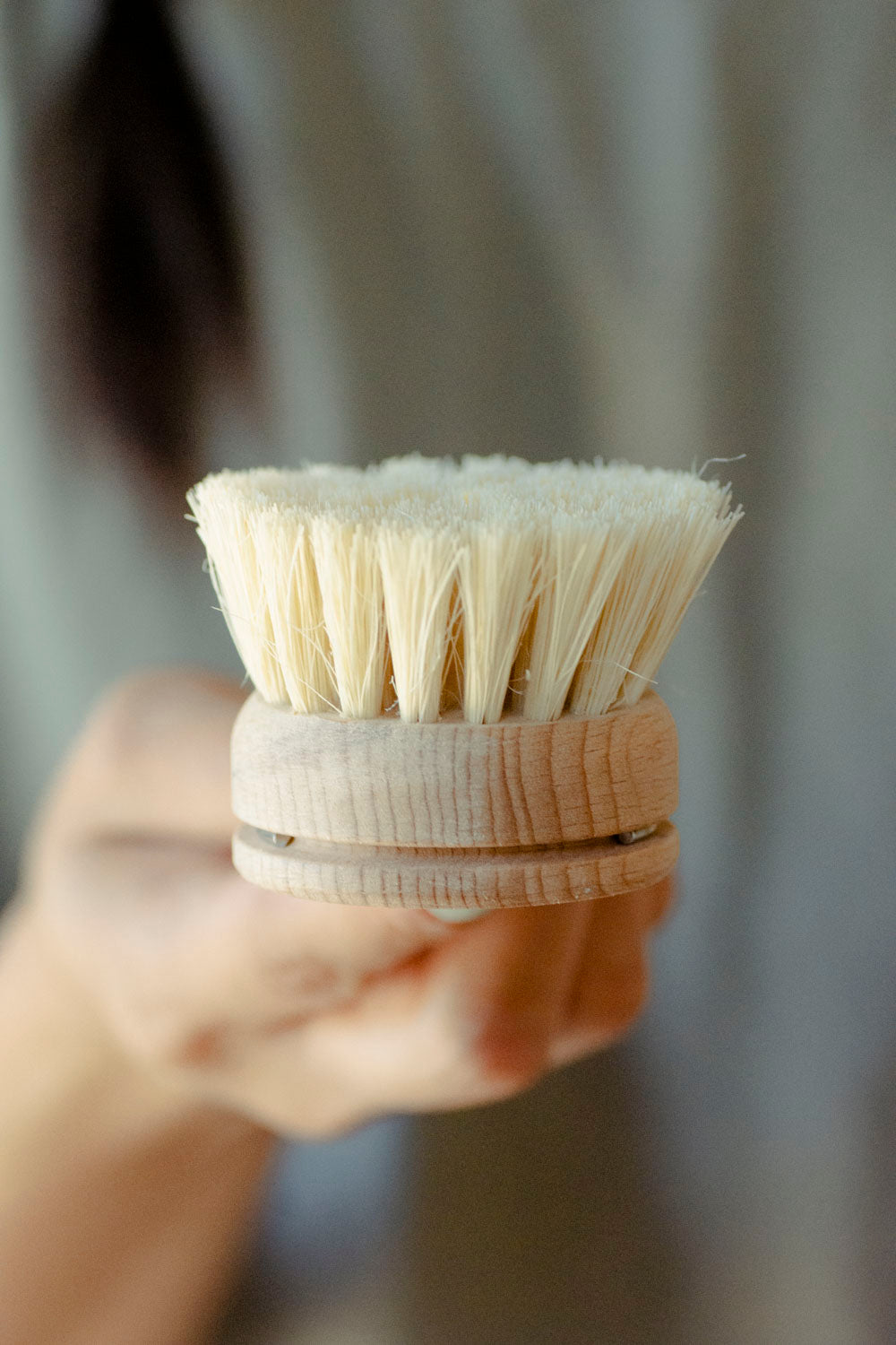 Dish Brush - White Teakwood & Agave Fiber Replaceable Head