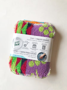 World's Best Pot Scrubbers (2 Flat + 1 Foam)