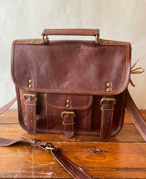 "Hand Crafted Leather 11"" Satchel"