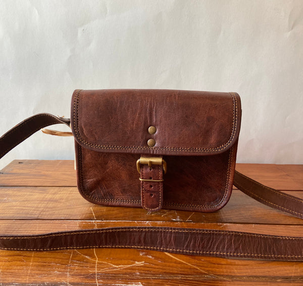 "Hand Crafted Leather  7"" Satchel Half Flap"