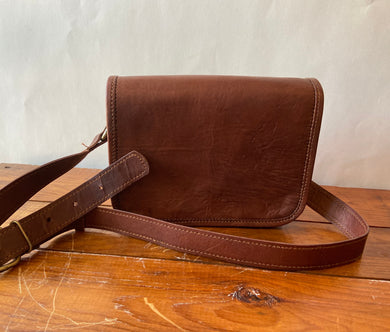 "Hand Crafted Leather 7"" Day Bag Full Flap"