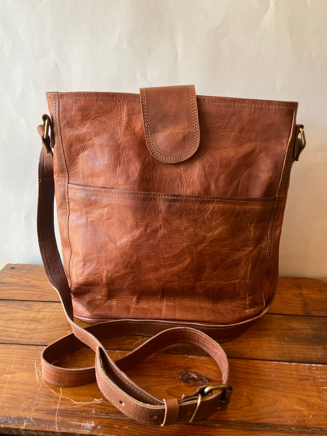 "Hand Crafted Leather 12"" Bucket Bag"