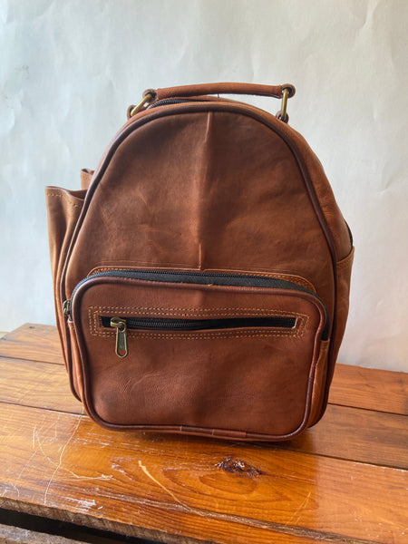 "Handcrafted Leather 12"" Mini Backpack"