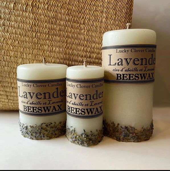 Lavender Beeswax Candle by Lucky Clover Candles