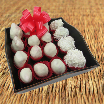 White Chocolate-Dipped Strawberries - Fancy Wooden Tray