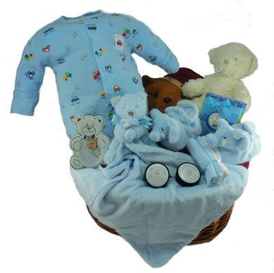 Plush Boy Baby Gift Basket