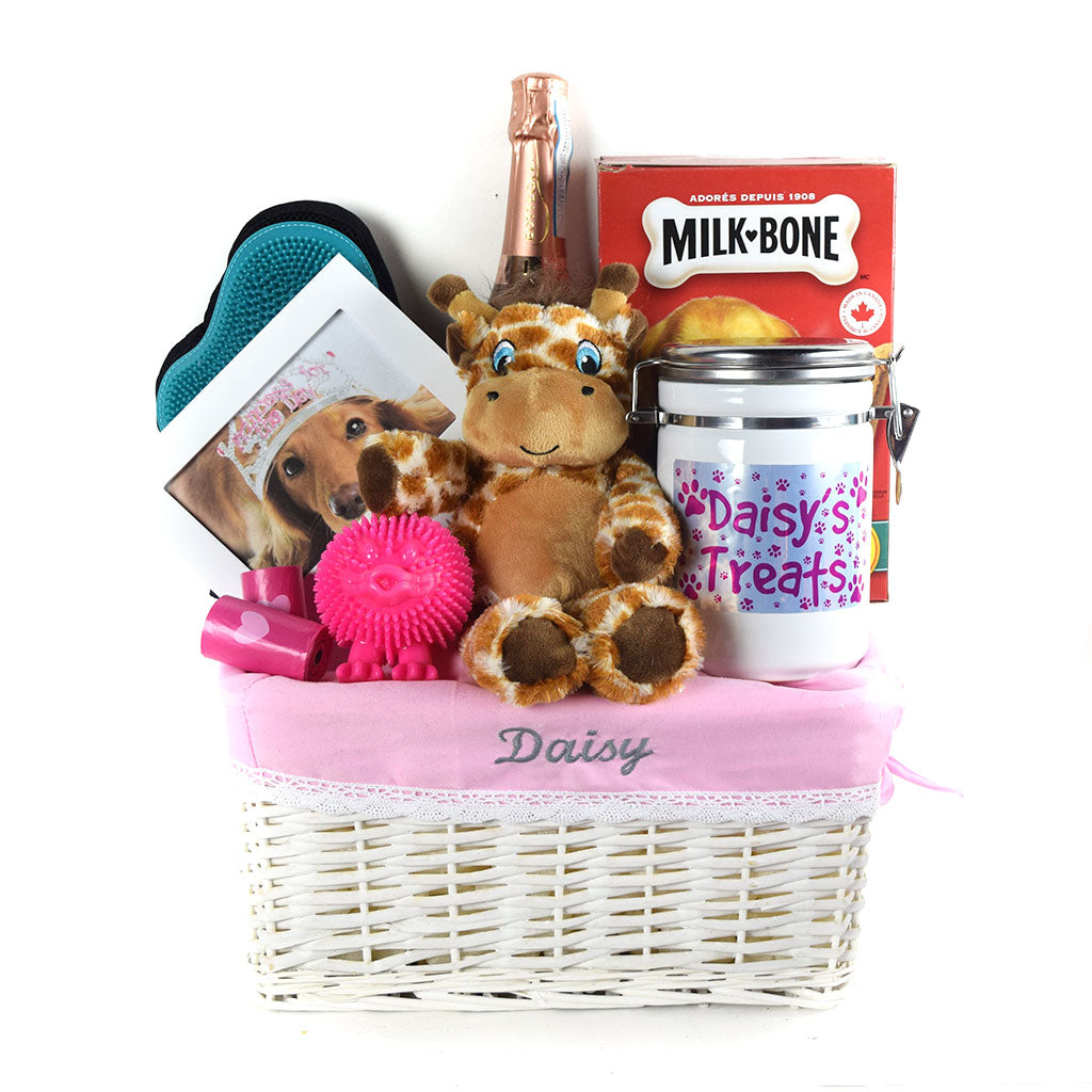 Happy Days Dog Gift Basket With Champagne