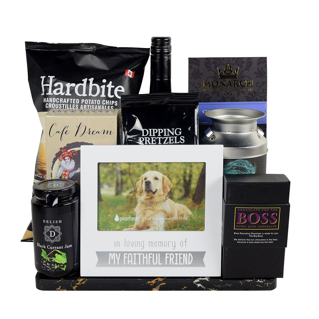Dog Gifts | Loving Memories Dog Gift Basket With Wine - Mutts