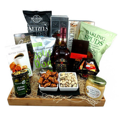 The Grand Snacking Spirits Gift Basket