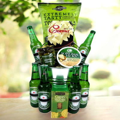 This basket is ideal as a Fathers Day Gift Basket. It features heineken beers and ships and lot more