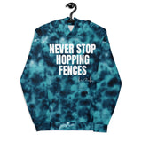Never Stop Hopping Fences Blue Tie Dye Unisex Hoodie