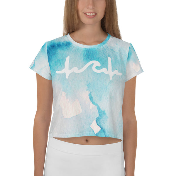 Blue Watercolors Crop Top