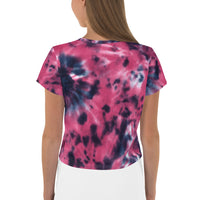 Raspberry Tie Dye SurfBeat Crop Top