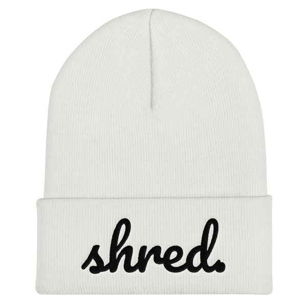 Shred. White Winter Knit Beanie