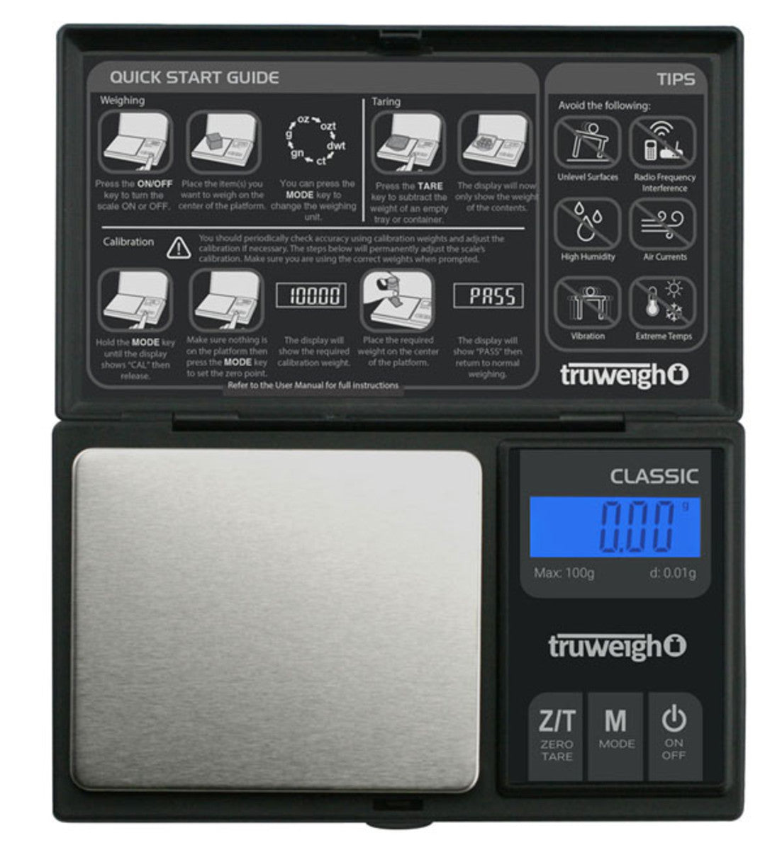 Truweigh Classic Digital Mini Scale - 100g x 0.01g / Black