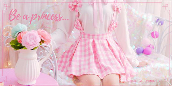 ddlg playground be a princess pink youthful young little girl in littlespace cgl abdl kink fetish kawaii cute fashion aesthetic pastel clothing and accessories free shipping worldwide