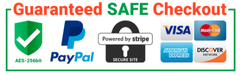 guaranteed safe paypal checkout visa master card discover bitcoin encrypted secure