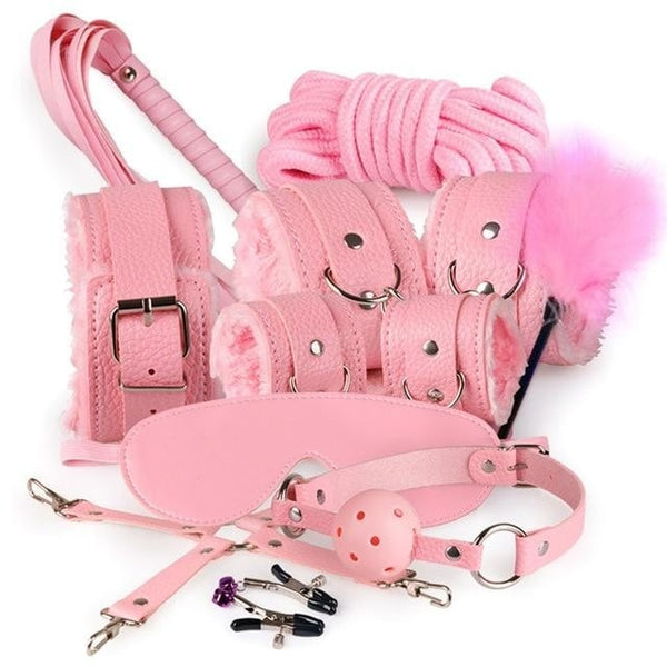 Pink 10 Piece Bondage BDSM Kit Set Sex Toy Lot Fetish S&M Kink Whip Gag Handcuffs Flogging by DDLG Playground
