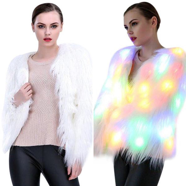 LED Light Up Christmas Sweater Faux Vegan Fur Cardigan Festive Xmas Holiday