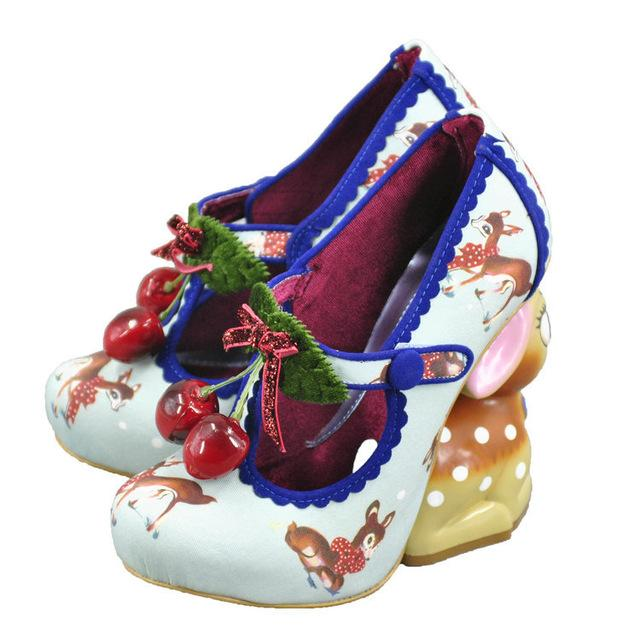 white blue 3d cherry deer high heels platform shoes 3d lolita style 1970s vintage kitsch retro cherries print irregular shaped heel disney bambi baby fawn harajuku japan street fashion by kawaii babe