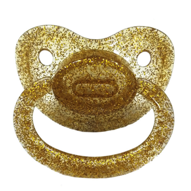 Clear Gold Glitter Adult Pacifier