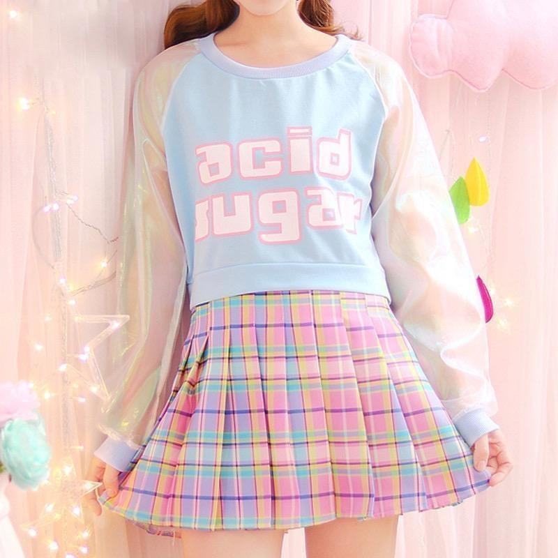 Acid Sugar Crop Top - Blue - shirt