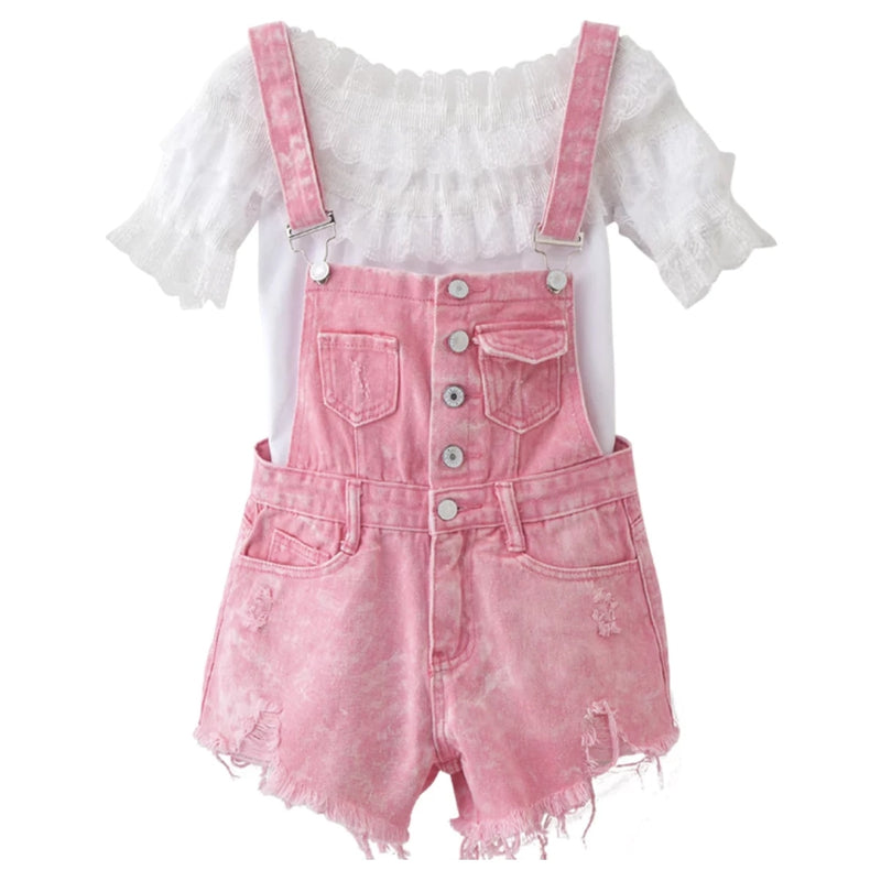 Acid Wash Denim Overalls - jumper