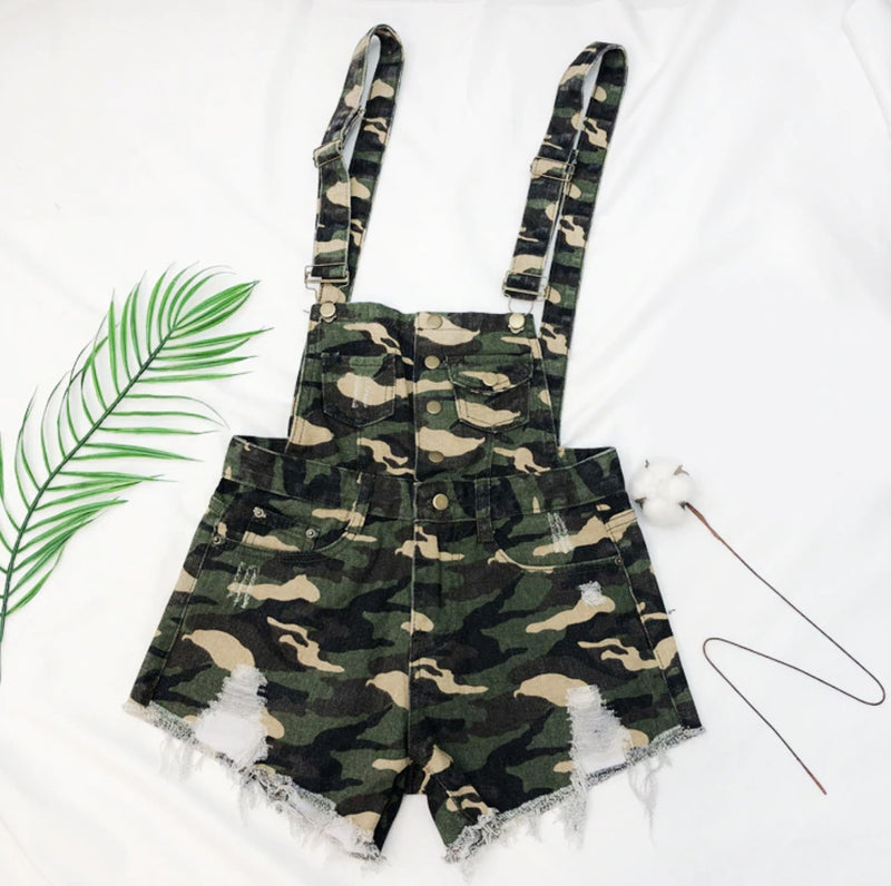 Acid Wash Denim Overalls - Camouflage / S - jumper