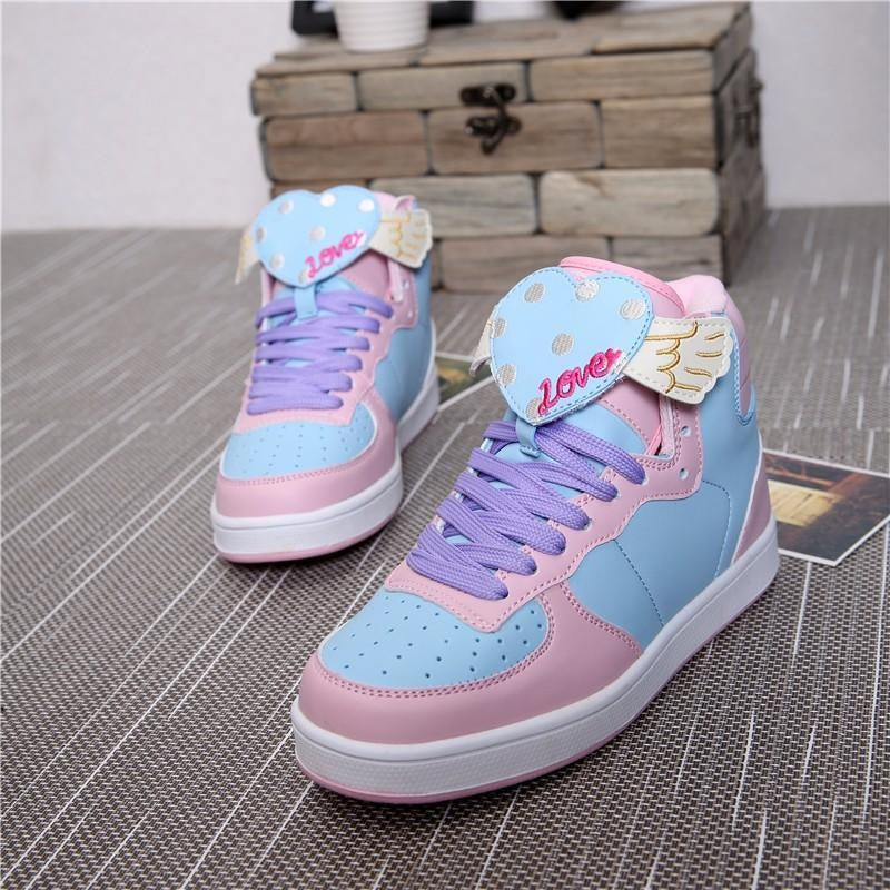 fairy kei pastel blue angel wing heart hi top sneakers high tops shoes candy colored sweet lolita yume kawaii harajuku japan fashion dd/lg cgl abdl age regression by ddlg playground