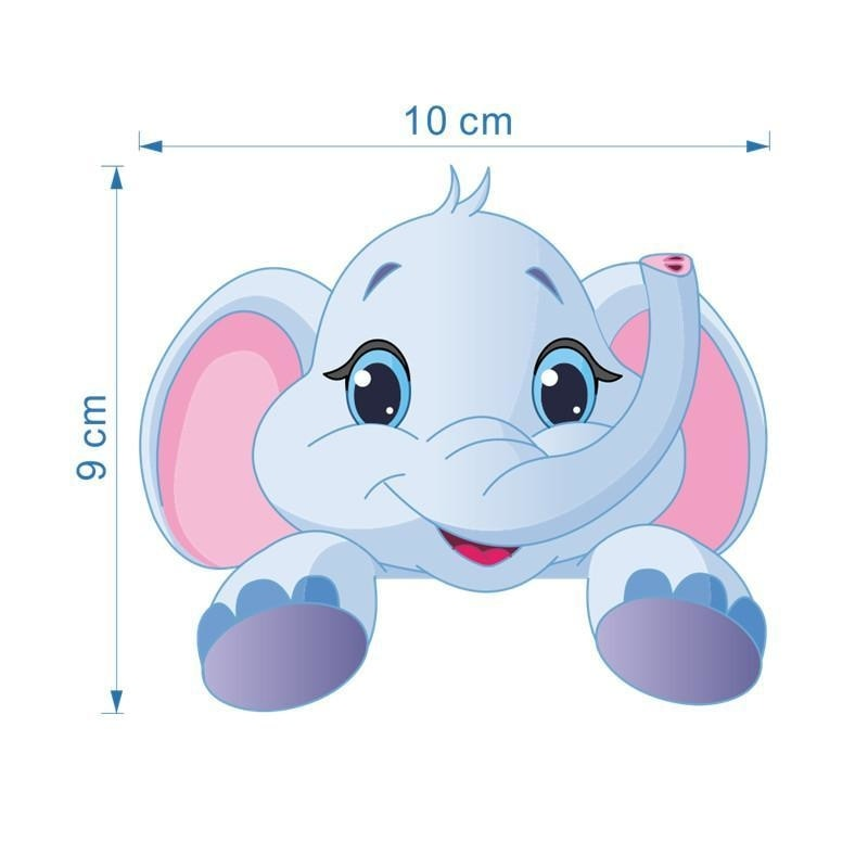 Kawaii Baby Elephant Light Switch Wall Art Sticker Decals Jungle  by DDLG Playground