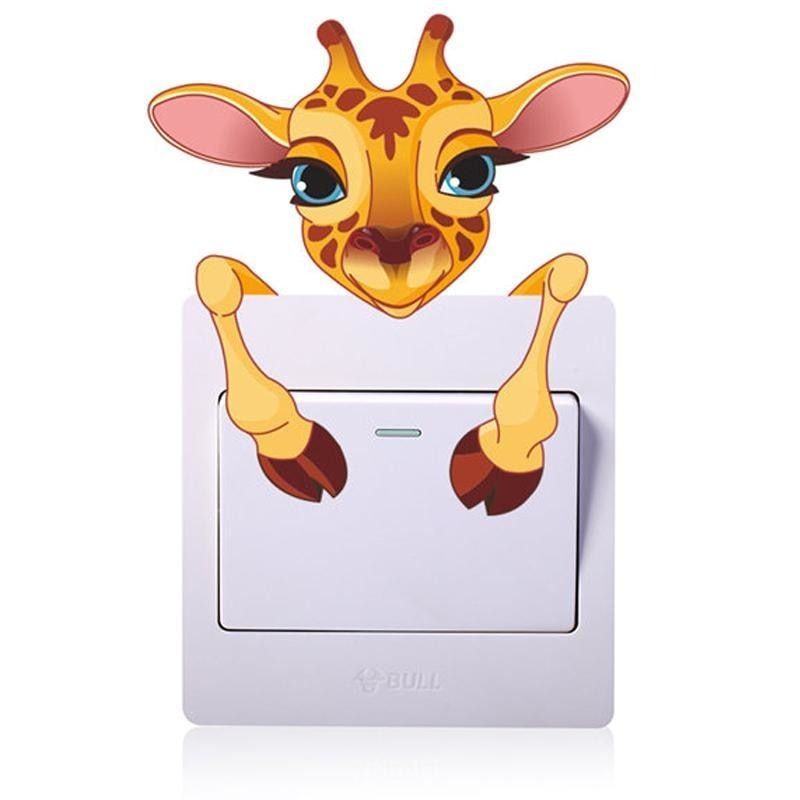 Kawaii Baby Giraffe Light Switch Wall Art Sticker Decals Jungle  by DDLG Playground