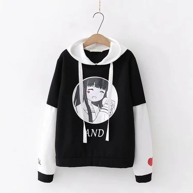 Anime Girl Hoodie - Black - sweater
