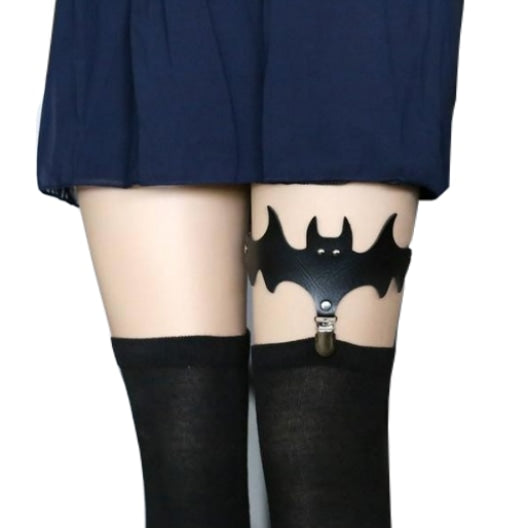 Black Bat Garter Belt Thigh Harness Spooky Halloween Gothic
