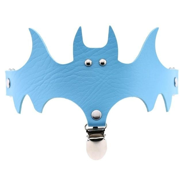 Sky Blue Bat Garter Belt Thigh Harness Spooky Halloween Gothic