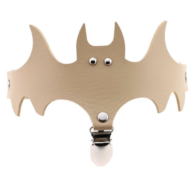 Baby Bat Garter - Tan Beige - bats, batty, black bat, creepy cute, garter belt