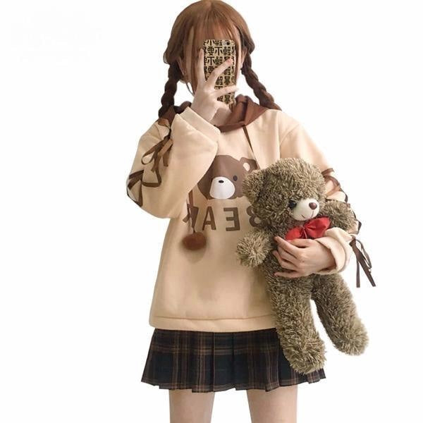 brown baby bear hoodie corset lace up arms sweater mori girl fashion harajuku japan dd/lg dd lg littlespace youthful young girl cgl abdl hoodie sweater sweatshirt by DDLG playground