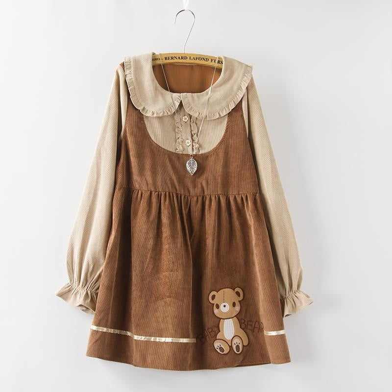 brown baby bear sweater dress long sleeve corduroy corded material mori girl fashion harajuku japan dd/lg dd lg littlespace youthful young girl cgl abdl sweatshirt by DDLG playground