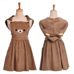 rilakkuma bear corduroy dress suspender straps hooded cowl cord jumper romper dungarees dress abdl ddlg young youthful abdl dd/lg playground